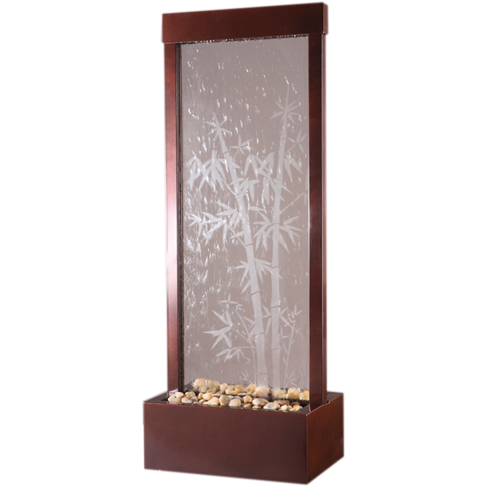 Bluworld Bamboo Etched Glass Gardenfall Fountain